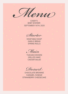Pink and Grey Baby Shower Party Menu  Baby Shower (Girl)