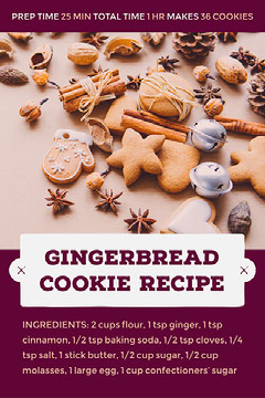 Purple and Sepia Toned Christmas Cookie Recipe Card Instagram Flyer