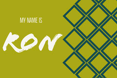 Green Square Pattern Handwriting Name Tag Pattern Design