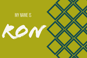 Green Square Pattern Handwriting Name Tag Nimikortti