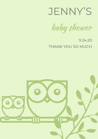 Green Illustrated Thank You Baby Shower Card with Owls doccia per bambini