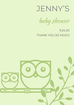 Green Illustrated Thank You Baby Shower Card with Owls Baby Shower