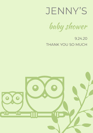 Green Illustrated Thank You Baby Shower Card with Owls Baby Shower Thank You Card