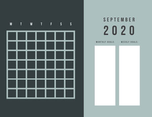 Blue and Black Empty Calendar Card 달력