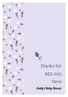 Light Purple Floral Pun Thank You Baby Shower Cardw ith Bee Baby Shower