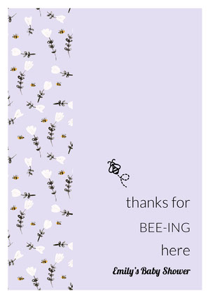 Light Purple Floral Pun Thank You Baby Shower Cardw ith Bee Baby Shower Thank You Card