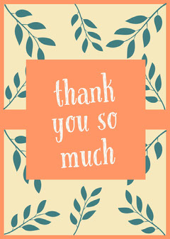 Blue and Orange Thank You Card Family