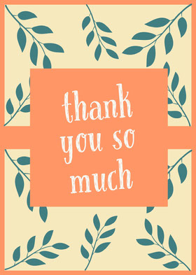 Blue and Orange Thank You Card Thank You Card