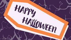 Purple and Orange Spooky Coffin Halloween Party Gift Tag Halloween Gift Tag