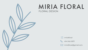 Blue Florist Business Card with Plant Tarjeta de visita
