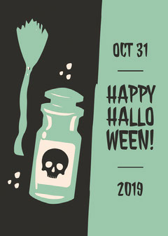 Green Happy Halloween Skull Potion and Broom Card Halloween