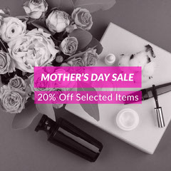 Pink and Grey Mother's Day Sale Promo Cosmetic