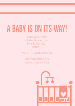 Pink and Navy Pink Baby Shower Invitation Baby Shower (Girl)