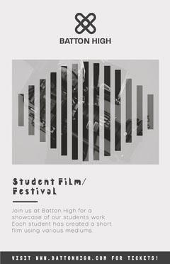 Grey and White Student Film Festival Poster Film Festival Poster
