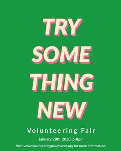Green and Pink Typography Volunteering Fair Flyer Volunteer