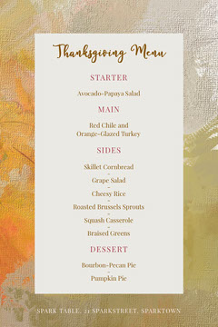 paint texture thanksgiving menu  Thanksgiving Menu