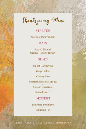 White With Paint Texture Thanksgiving Menu  Thanksgiving Menu