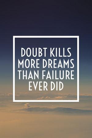 Doubt Kills Dreams Pinterest Poster motivazionale