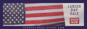 Violet With Flag Labor Day Sale Banner Banneri