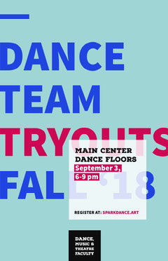 Blue and Red Dance Team Tryout Poster School Dance Flyer