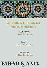 FAWAD & ANIA Wedding Program