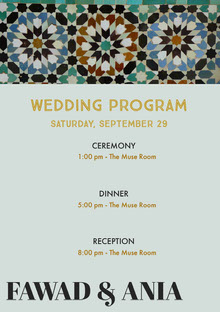 Blue and Grey Wedding Ceremony Program Programa de bodas