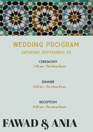 Blue and Grey Wedding Ceremony Program Program
