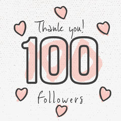 Pink Feminine Hearts Thank You for 100 Followers Instagram Square Thank You Poster