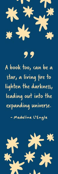 Yellow and Blue Madeline L'Engle Quote Bookmark Galaxy