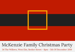 Red Santa Belt Christmas Party Invitation Card Christmas