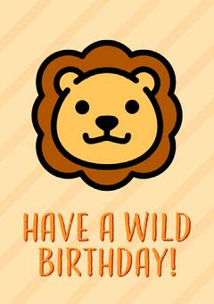 Orange Lion Illustration Happy Birthday Card Birthday
