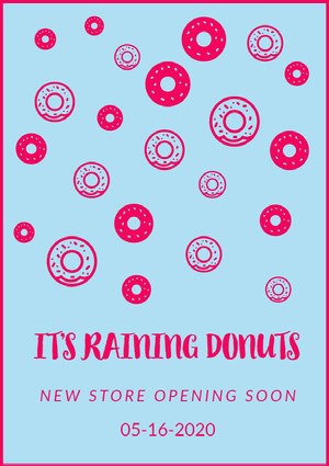 Pink and Blue Raining Donuts Poster Pink Flyers