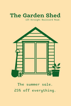 green yellow hardware store sale postcard House For Sale Flyer