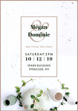 White and Green Wedding Invitation invitations de mariage numériques