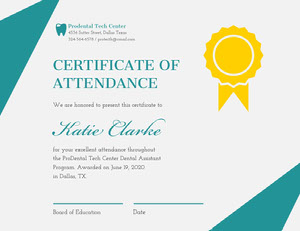 Teal and Gold Attendance Certificate with Medal Certificato di diploma