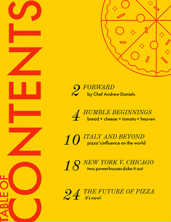 yellow table of contents  Pizza