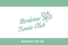 Green Tennis Club Membership Card Tennis