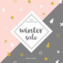 Pink, White and Grey, Light Toned, Winter Sale Ad, Instagram Post Winter