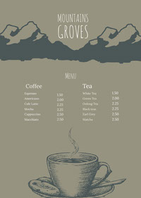 Brown and Grey Cafe Menu 菜單