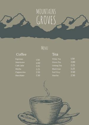 Brown and Grey Cafe Menu カフェ メニュー