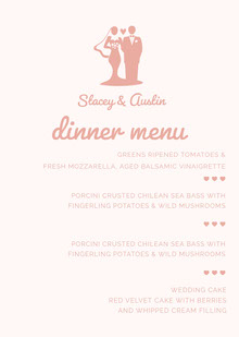 Pink Illustrated Wedding Menu with Bride and Groom Menú de bodas