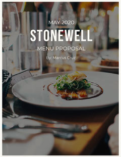 Restaurant Menu Business Proposal with Gourmet Meal Photo Restaurants