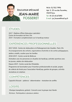 Green and White Special Educator Resume  CV professionnel