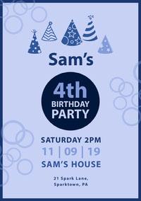 Blue Boy Birthday Party Invitation Birthday