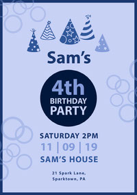 Blue Boy Birthday Party Invitation compleanno