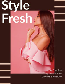 Brown and Pink Young Woman Fashion Magazine Cover Magazine Cover