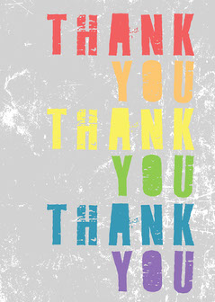 Gray and Rainbow Typograhy Thank You Card  Typography