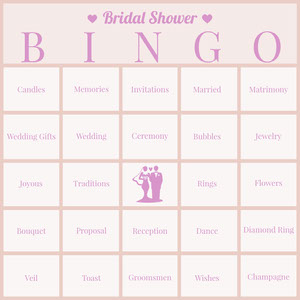 Pink Bridal Shower Bingo Card Pelikortit