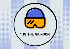 Blue and Orange Ski Goggles Ski Season Postcard Winter