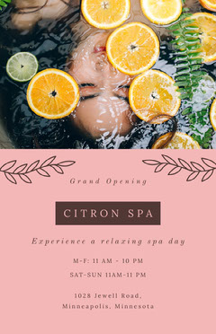 Pink Citron Spa Opening Flyer Spa